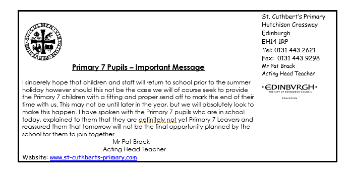 Primary 7 Imortant Message